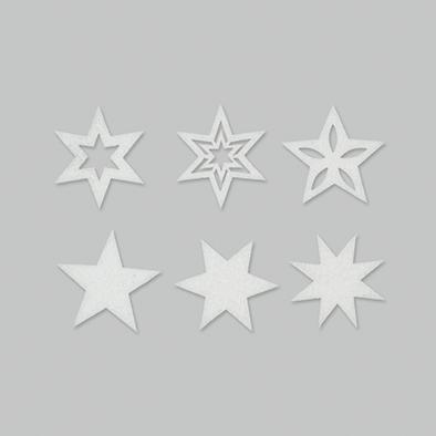 Vilt sterren wit 6 stuks per zakje