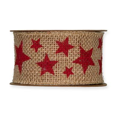Jute band 5 cm breed sterren rood 50 cm per zakje