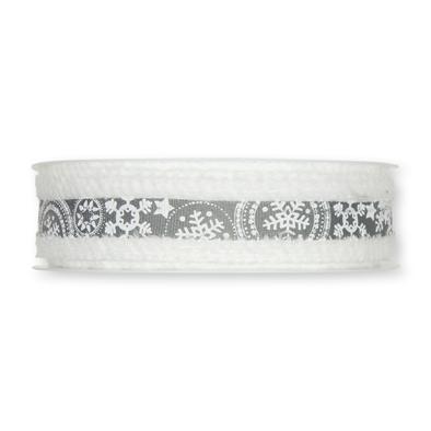 Kerst lint wit grijs sneeuw print 25 mm breed 1 meter per zakje