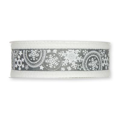 Kerst lint wit grijs sneeuw print 40 mm breed 1 meter per zakje