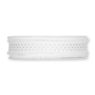 Lint wit met zilveren stippen 25 mm breed 1 meter per zakje