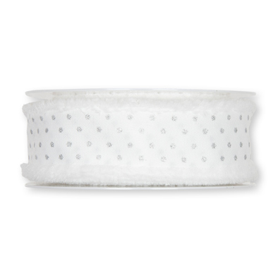 Lint wit met zilveren stippen 40 mm breed 1 meter per zakje