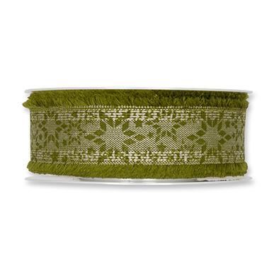 Kerst lint sterren olijf groen 35 mm breed 1 meter per zakje