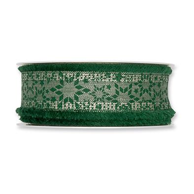 Kerst lint sterren donker groen 35 mm breed 1 meter per zakje