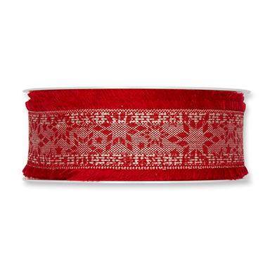 Kerst lint sterren rood 35 mm breed 1 meter per zakje