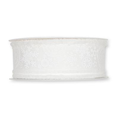 Kerst Lint ijs sterren wit 30 mm breed 1 meter per zakje