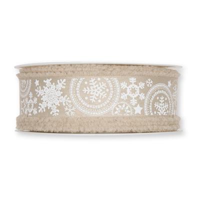 Kerst Lint ijs sterren zand 30 mm breed 1 meter per zakje