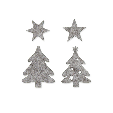 Vilt figuurtjes kerstboom grijs 5 stuks assorti per zakje