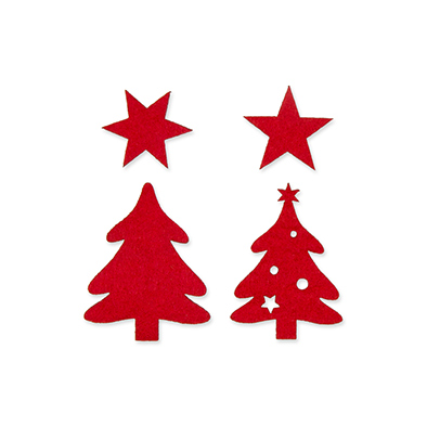 Vilt figuurtjes kerstboom rood 5 stuks assorti per zakje