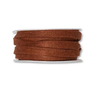 Vilt band 1 cm breed, Bruin, 5 meter op rol