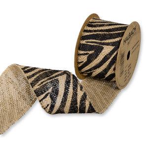 Jute Band Zebra Print 6 cm breed 50 cm lang per zakje