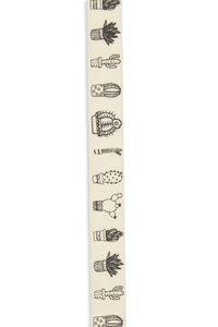 Band zelfklevend met cactus print zwart 10 mm breed ca. 1 meter per zakje