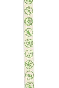 Band zelfklevend met blaadjes bloem print groen 10 mm breed ca. 1 meter per zakje