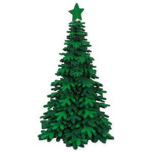 Vilt kerstboom donkergroen wit 28 cm