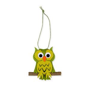 Vilt hanger uil groen 5,5 x 7,5 cm per stuk