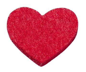 Vilt hartjes rood 12 stuks in een zakje