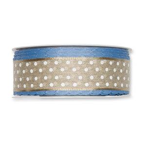 Linnen band met stippen met blauwe schulprand 35 mm breed 50 cm lang per zakje