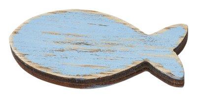 Hout vis dik zacht blauw 4,5 cm 3 stuks per zakje