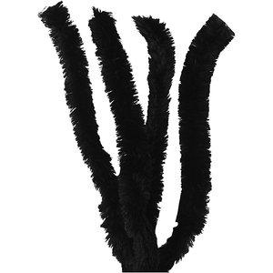 Chenille draad  zwart dikte 30 mm doorsnee 40 cm lang 4 stuks per zakje