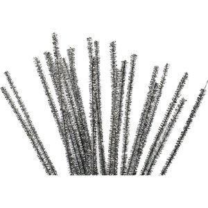 Chenille draad zilver 6 mm doorsnee 30 cm lengte 24 stuks per zak