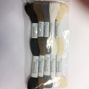 Borduurgaren zwart bruin grijs wit creme 5 strengen set