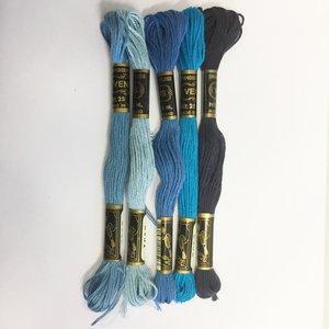 Borduurgaren setje blauw kleuren