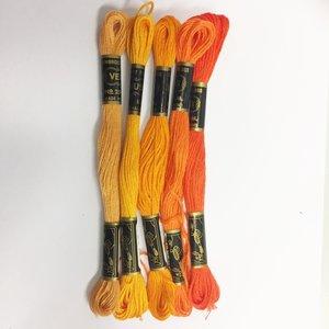 Borduurgaren setje oranje tinten