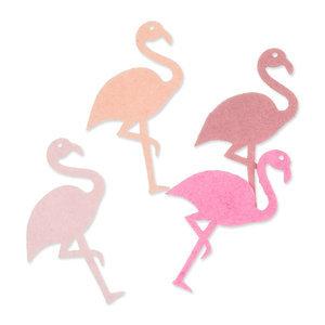 Vilt flamingo`s roze tinten 4 stuks per zakje