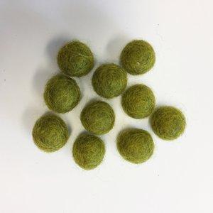 Viltballetjes 10MM Olijfgroen, 10 st. per zakje