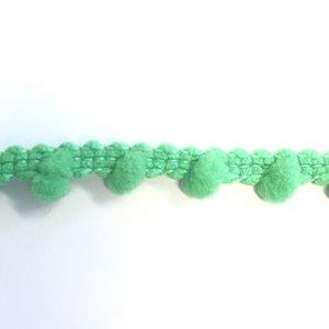 SALE, Pom pom band, Groen, 10 mm breed, 5 meter per zakje
