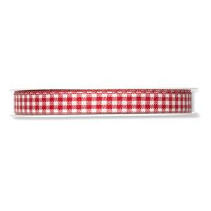 Geruit lint, Rood/Wit, 10 mm breed, per meter
