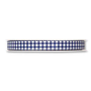 Geruit lint, Donker blauw/Wit, 10 mm breed, per meter