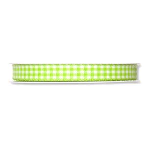 Geruit lint, Lime Groen/Wit, 10 mm breed, per meter