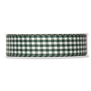 Geruit lint, Donker Groen/Wit, 25 mm breed, per meter
