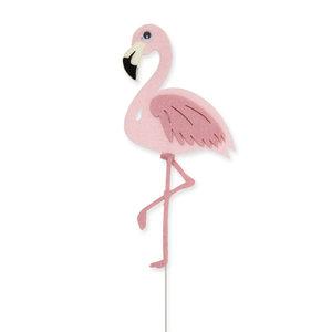 Vilt Flamingo op pin, per stuk