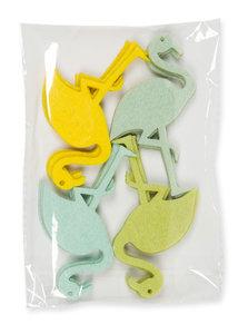 Vilt Flamingo's, Groen, Geel, Mint & Blauw, 16 st. per verpakking