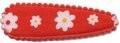 Haarkniphoesje rood met bloemen 5 cm per paar