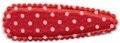 Haarkniphoesje satijn rood met witte stippen 5 cm per paar