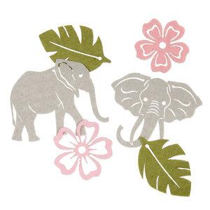 Vilt setje Olifanten, Grijs, Groen & Roze