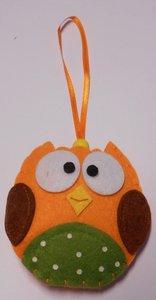 Vilt uil oranje hanger 9 cm per stuk