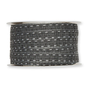 Stiksel band zwart 12  mm breed per meter