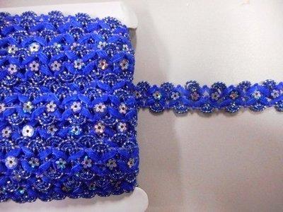 Pailetteband met bloemetjes kobalt blauw per meter