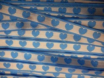 Lint hartjes blauw 10 mm breed per meter