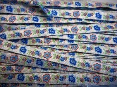 Lint bloemen blauw 10 mm breed per meter