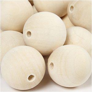 Houten kralen 35 mm doorsnee 5 stuks per zakje