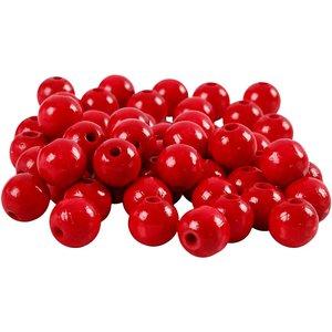 Houten kraaltjes rood 10 mm doorsnee circa 70 stuks per zakje