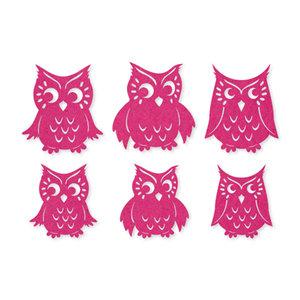 Vilt uilen roze 6 stuks per zakje