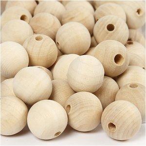 Houten kralen 20 mm doorsnee 20 stuks per zakje