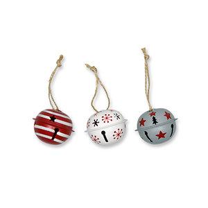 Kerstbellen, Mix Rood, 4 cm