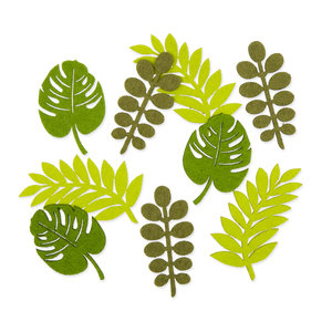Vilt Blaadjes, Lime Groen/Groen, 18 stuks per verpakking